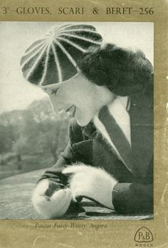 Lovely ladies vintage knitting pattern for striped beret in angora, with scarf and gloves to match.