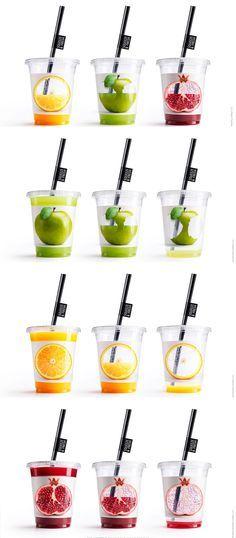 Proyecto de diseño de packaging creativo para vasos de zumo.