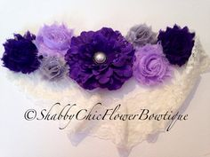 Purple Flower Belt Sash Shabby Chic Pearl by ShabbyFlowerBowtique, $27.99