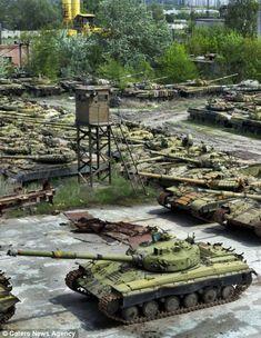 Kharkov Soviet Tank Graveyard, Ukraine - A watch tower looking over the tank graveyard