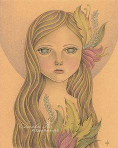 Ilustración de ninfa Fantasy Art diosa del bosque por TheWishForest, $18.00