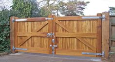 Our Hadleigh gates are built with heavy duty diagonal bracing, giving them a traditional feel for your property. Our timber gates are built from both soft and hardwoods. Backyard Gates, Driveway Gate, Garden Gates, Double Wooden Gates, Wooden Fence Gate, Wooden Gate Designs, Cottage Entryway, Timber Gates, Privacy Fence Designs