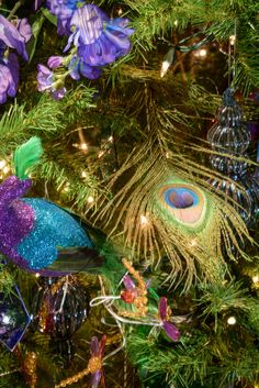 Detail from tree celebrating the Tiffany Glass exhibition
