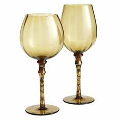 2 of each please    Oversized Drinkware - Amber with Gold Stem