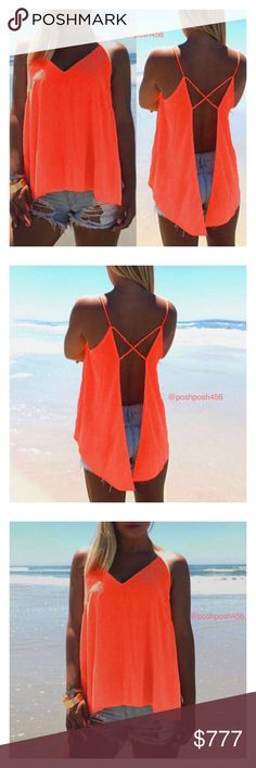 """☀️Orange High low open back Top☀️ Cute orange hight low open back top. So cute for the summertime☀️Material is a bit see through. Please look at my measurements down below before ordering.  ✨Size M✨ ✨armpit to armpit measures 17""""✨  ✨Size L✨ ✨armpit to armpit measures 19""""✨  ✨SizeXL✨ ✨armpit to armpit measures 20""""✨  ✨Color: Orange material is Chiffon ✨ ✨New without tag comes in plastic back✨ ✨Style: Fashion, Casual, Beach✨ ✨Shipping- 1 business day(Monday through Friday)✨ Lee's boutique Tops…"""