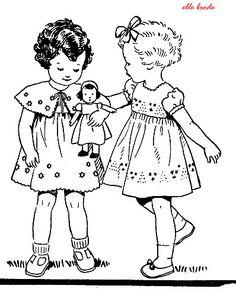Petites filles de 1936 , vous les redemandez :point de tige ,redwork - elle-brode.