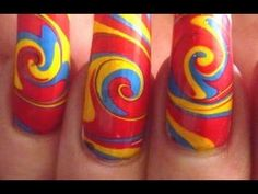 Psychedelic Summer Swirl Water Marble Nail Art Design Tutorial Technique...