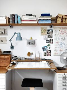 studio, home, interior, shelving, simple, desk, office, work space