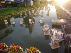 Amazing hand painted lanterns getting ready for night lighting  in Yamagata , Japan .