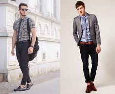 Armário Masculino | Moda masculina Gravata Slim + Xadrez