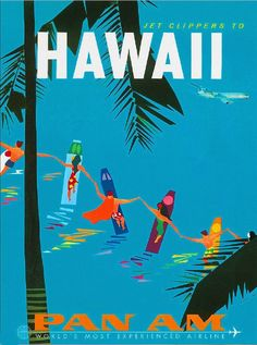 Hawaii by Clipper Hawaiian United States Vintage Travel Advertisement Poster
