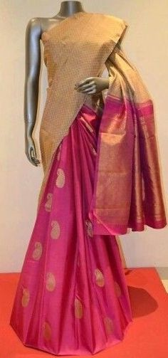 Pink n cream silk SAree