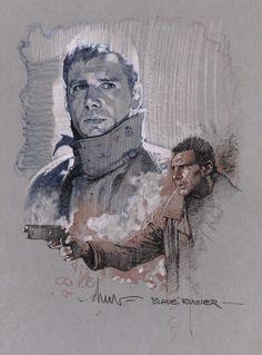 """Rick Deckard"" Blade Runner sketch by Drew Struzan Illustrations, Illustration Art, Drawing Sketches, Art Drawings, Sketching, Blade Runner Art, Indiana Jones Films, Movie Poster Art, Indie Movies"