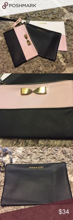 Victoria secret bow makeup bag set of 3 pink nwt Victoria secret bow makeup bag set of 3 pink brand new with tags PINK Victoria's Secret Bags