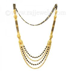 #Long 22 karat yellow #gold #mangalsutra necklace with 4 layers of black beads in the center - See more at: https://www.rajjewels.com/22-k-gold-long-4-layers-black-bead-s-magalsutra.html#sthash.Wu4JYvkA.dpuf