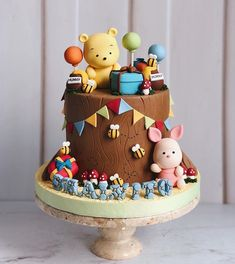 Adorable Winnie the Pooh and Piglet Birthday Cake made by Duchess Cakes and Bakes Best Picture For Birthday Cake for him For Your Taste You are looking for something, and it is going to tell you exact Winnie Pooh Torte, Winnie The Pooh Birthday, Pretty Cakes, Cute Cakes, Baby Birthday Cakes, Cake Baby, Birthday Presents, Birthday Cake For Kids, Birthday Ideas