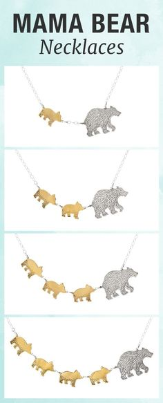 $120 - Capture the fierce protection and love you have for your children with this mama bear and cub necklace.