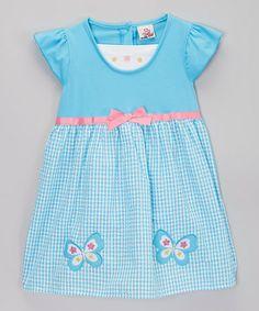 Another great find on #zulily! Blue Gingham Butterfly Seersucker Dress - Toddler & Girls #zulilyfinds