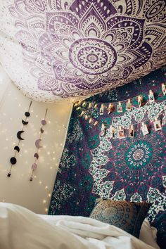 Lady Scorpio   @Ladyscorpio101 ☽☽ ladyscorpio101.com ☆ Perfect Bedroom Decor for the Hippie at heart ♡ Alexa Halladay is Boho Bungalow - Lavender Purple Tapestry with Copper Fairy Lights! Including Moon Phase Wall Hangings!