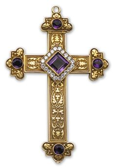 another great pectoral cross. A diamond and amethyst pendant the reliquary cross centering a square-cut amethyst in a transitional and old European-cut diamond surround, the terminals set with circular-cut amethysts; with hinged cover; inscription on reverse dated 1911; estimated total diamond weight: 1.40 carats; mounted in eighteen karat gold; length: 4 1/8in.