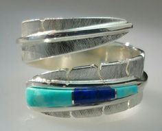 Feather Ring with Sleeping Beauty Turquoise and Lapis - Feather Collection - Kirk Jewelry