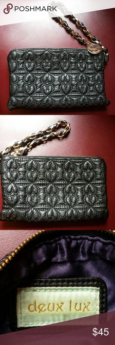 DEUX LUX LUXURY BLACK LEATHER QUILTED BAG Beautiful! Deux lux black leather with tassel bow chain H5. 5 x W 8.5 x D2. 5 Great condition Deux Lux Bags Clutches & Wristlets