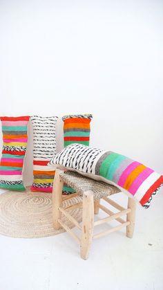 2 x cubierta de almohadas de lana marroquí - rayas multicoloras