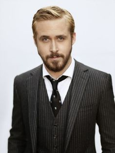 Ryan Gosling, OK, I think any guy in a good pinstripe suit looks handsome. #Gosling