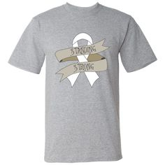 Be unwavering in the support of your cause with Mesothelioma Standing Strong American Made T-Shirts with a bold awareness ribbon. #MesotheliomaFighter #MesotheliomaAwareness #MesotheliomaStandingStrong