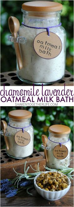 Oatmeal Milk Bath Chamomile Lavender Oatmeal Milk Bath - soothing and pampering and perfect for gifts!Chamomile Lavender Oatmeal Milk Bath - soothing and pampering and perfect for gifts! Bath Recipes, No Salt Recipes, Diy Savon, Bath Salts Recipe, Homemade Bath Salts, Diy Bath Salts, Homemade Shampoo, Bath Fizzies, Homemade Facials