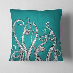 Teal Octopus Tentacle Decorative Throw Pillow