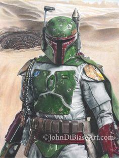 Full Color Drawing Print of Boba Fett in Star Wars - Sarlacc Background