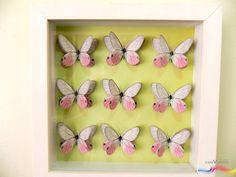 Evento: decoração de ambiente Produto: quadrinho 20x20 - vidro - moldura branca Tema: Borboletário Técnica: scrapbook, sobreposição, alto relevo