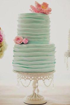 ruffled teal wedding cake #teal#rustic