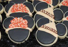 Mickey Mouse Cookies~ Birthday Cookies Custom Cookie by 4theloveofcookies, $30.00, black mouse ears.Orange Leopard-print bow, Brown zebra-print
