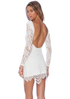 Shop White Long Sleeve Hollow Lace Backless Dress online. Sheinside offers White Long Sleeve Hollow Lace Backless Dress & more to fit your fashionable needs. Free Shipping Worldwide!