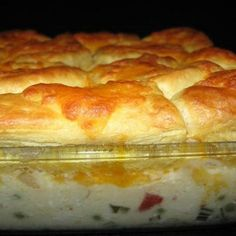 CREAMED CHICKEN AND BISCUITS CASSEROLE - Ingredients 1 small onion 1 teaspoons butter 2 lbs chopped cooked chicken breasts or 2 lbs boneless skinless chicken thighs 1 ounce) can cream of chicken soup cup mayonnaise 1 cup milk cup chopped pimiento or … Chicken Biscuit Casserole, Chicken And Biscuits, Casserole Dishes, Casserole Recipes, Canned Biscuits, Quick Biscuits, Casserole Ideas, Flaky Biscuits, Broccoli Casserole