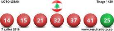 Liban - Resultat Loto - Libanaise des jeux 7 juillet 2016 - Tirage 1420 - Resultat Loto