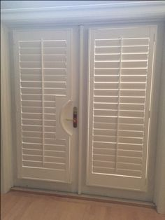 Plantation shutters on French doors.