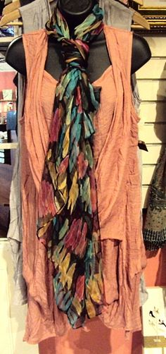 Peach Flowy Wrap Dress and Bright Coloured Silk Scarf. Dress $69.95 Dress comes in a variety of colours!