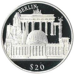 Moneda de plata 20$ Liberia 2000. Monumentos de Berlin.