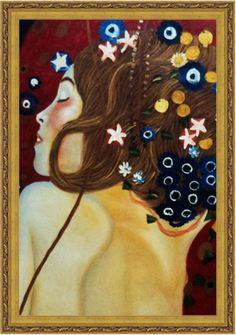 """Serpente do Mar IV"" de Gustav Klimt emoldurada"