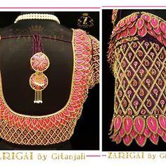 No photo description available. Wedding Saree Blouse Designs, Pattu Saree Blouse Designs, Blouse Designs Silk, Designer Blouse Patterns, Stitching Dresses, Simple Blouse Designs, Hand Designs, Work Blouse, Maggam Works