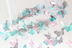 Pink Aqua Nursery Butterfly Mobile Nursery by LovebugLullabies