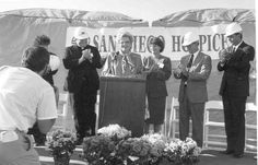 Business leaders including the late Joan Kroc support San Diego Hospice's groundbreaking of its Inpatient Care Center in Hillcrest (circa 1987).
