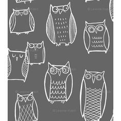 #art #gray #fabric #owl