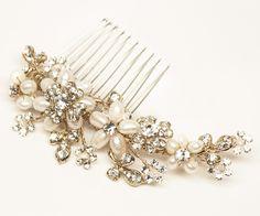"""Gold Flower Bridal Hair Comb - """"Gabriela"""" - Bridal Hair Accessories by Hair Comes the Bride"""