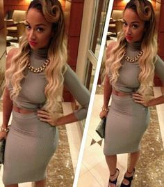 Google Image Result for http://realitytvfashion.com/wp-content/uploads/2012/10/Draya-Michele-Gray-One-Sleeve-Crop-Top-Pencil-Skirt.jpg