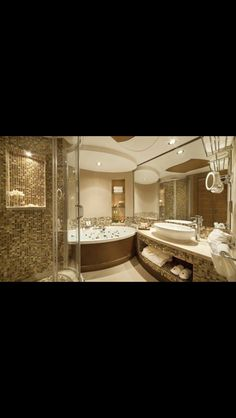 Classic mosaic bathroom never gives out of style!