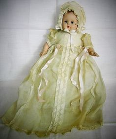 Vintage 1943 Madame Alexander LITTLE GENIUS BABY CHRISTENING DOLL  11 INCH CRIER #DollswithClothingAccessories